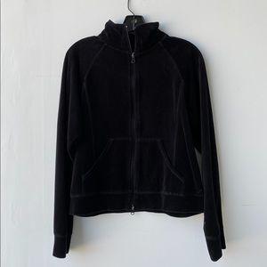 New York laundry black velvet zip up jacket